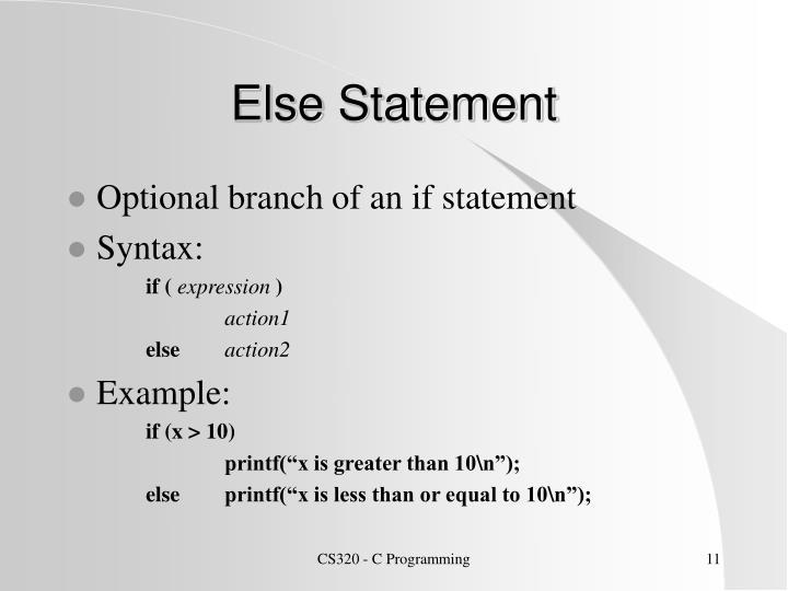 Else Statement