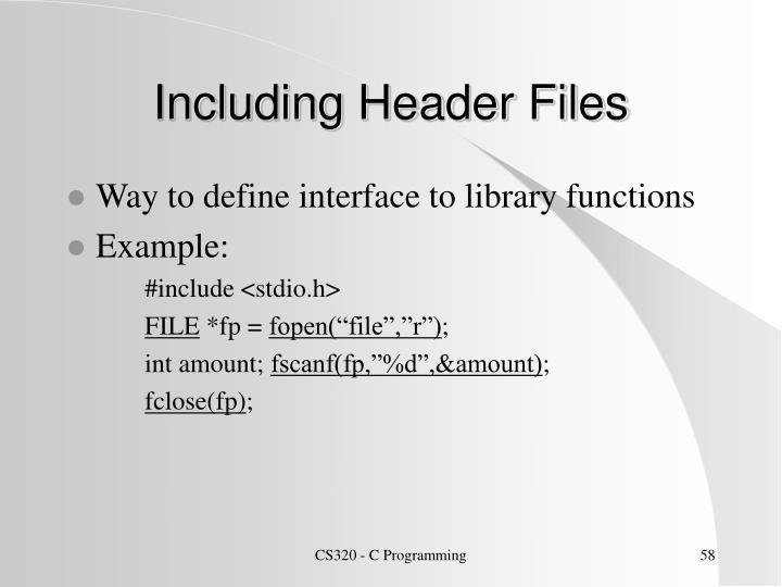 Including Header Files