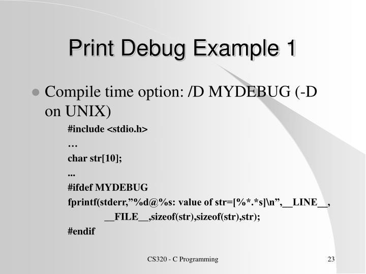 Print Debug Example 1
