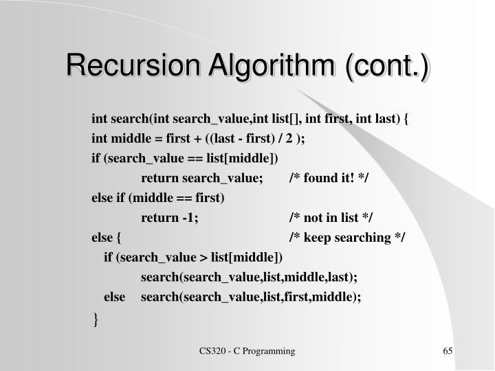 Recursion Algorithm (cont.)