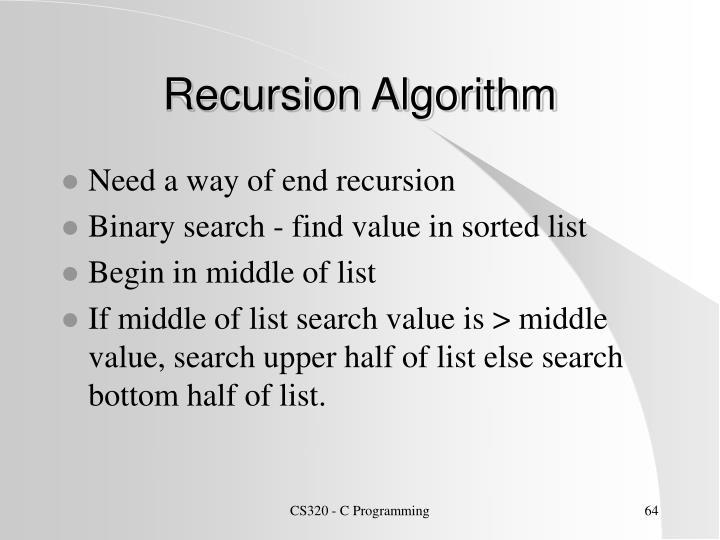 Recursion Algorithm