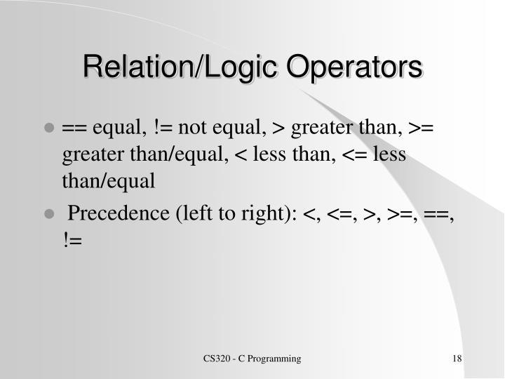 Relation/Logic Operators