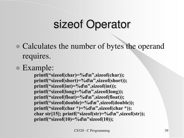 sizeof Operator