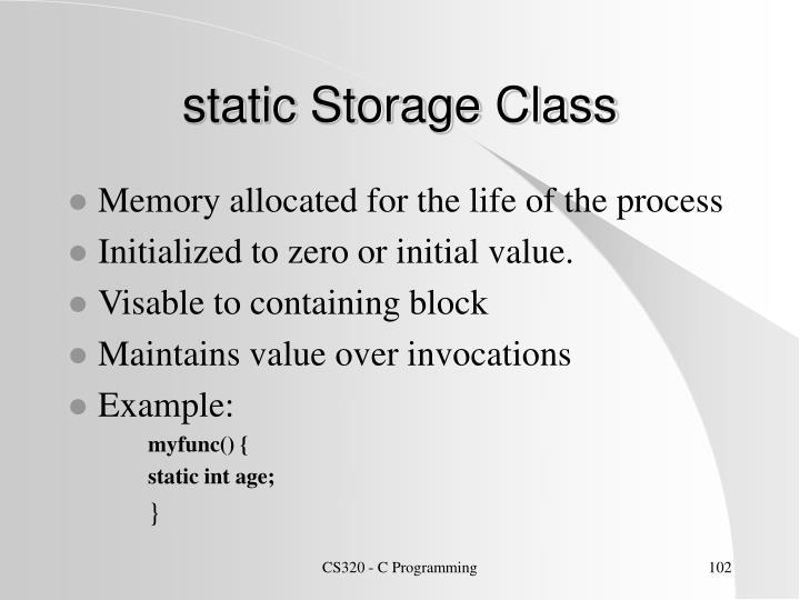 static Storage Class