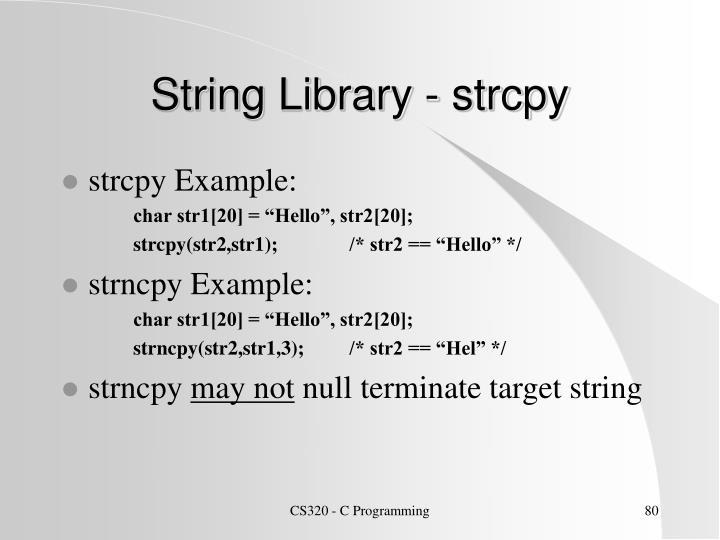String Library - strcpy