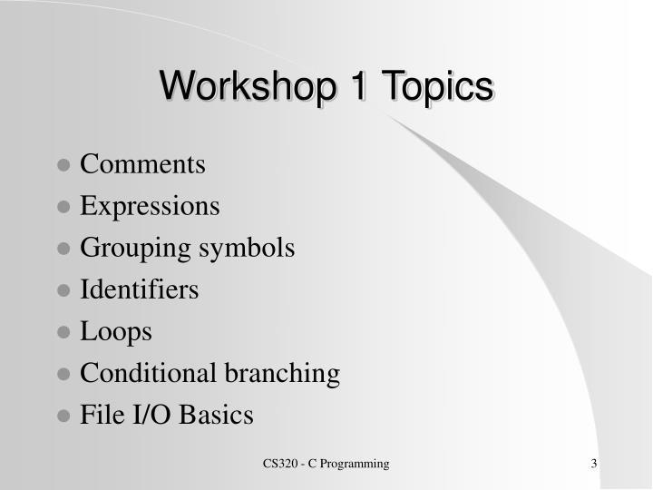 Workshop 1 Topics