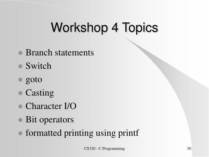 Workshop 4 Topics