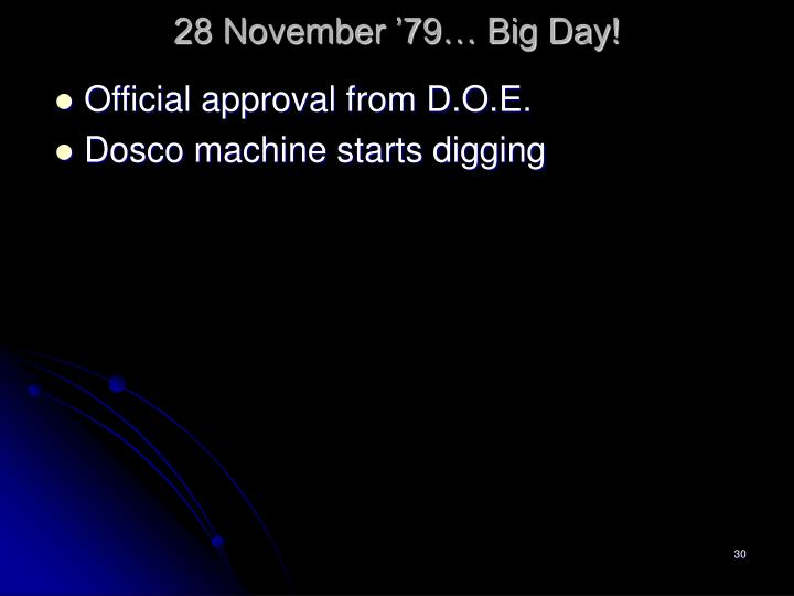 28 November '79… Big Day!