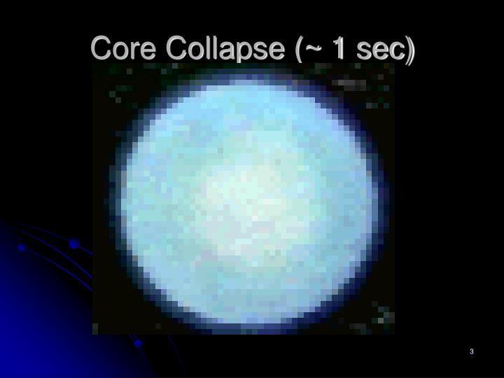 Core Collapse (~ 1 sec)