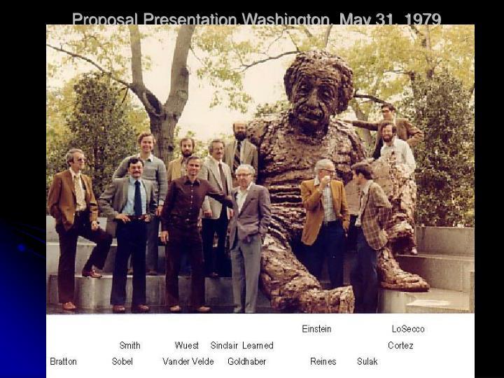 Proposal Presentation,Washington, May 31, 1979