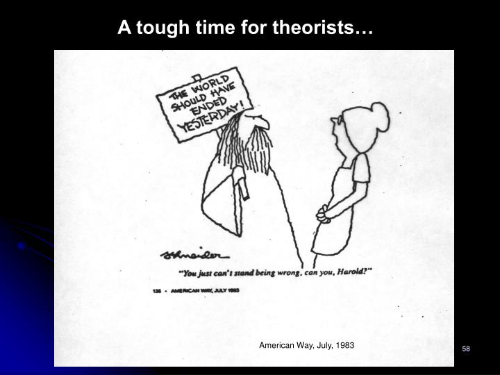 A tough time for theorists…