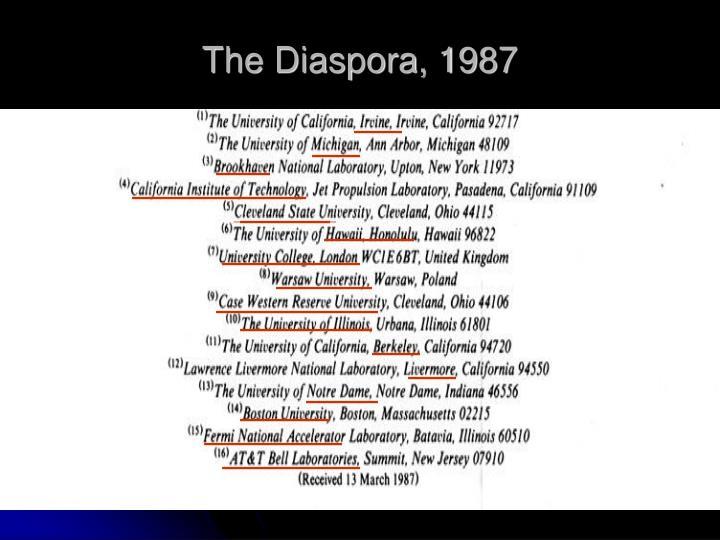 The Diaspora, 1987
