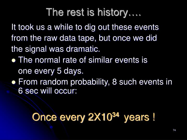 The rest is history….