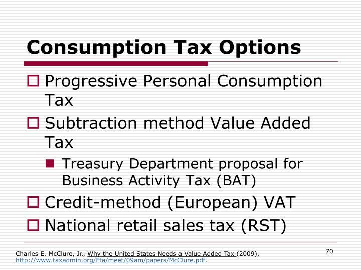 Consumption Tax Options