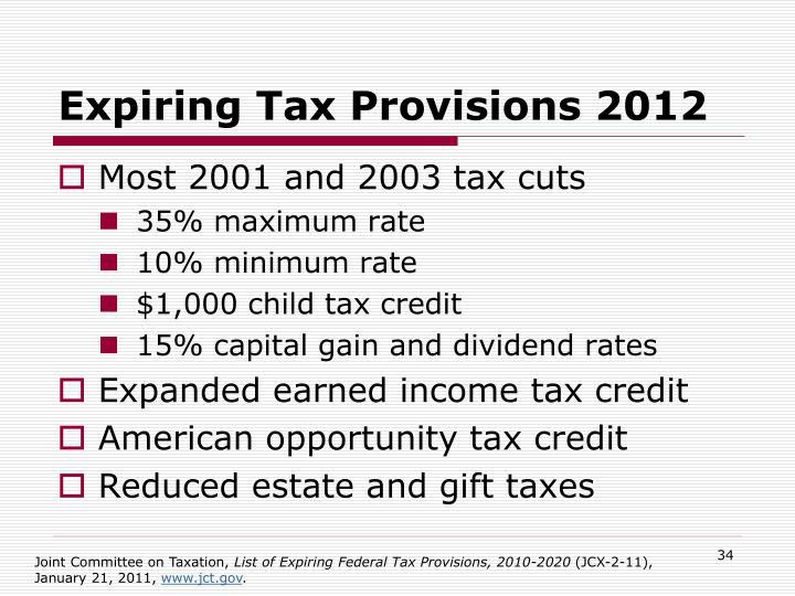 Expiring Tax Provisions 2012