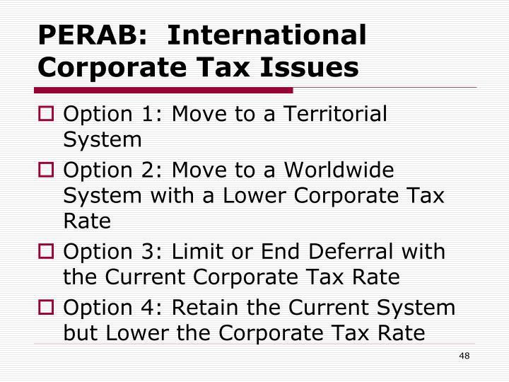 PERAB:  International Corporate Tax Issues