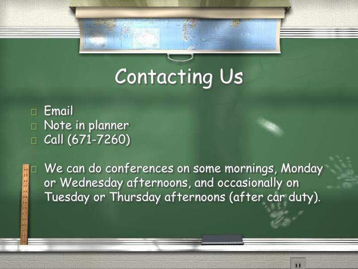 Contacting Us