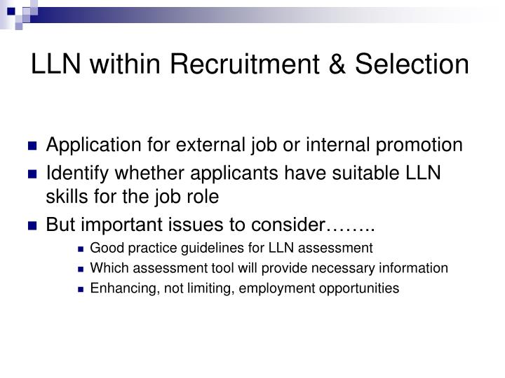 LLN within Recruitment & Selection