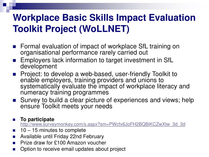 Workplace Basic Skills Impact Evaluation Toolkit Project (WoLLNET)