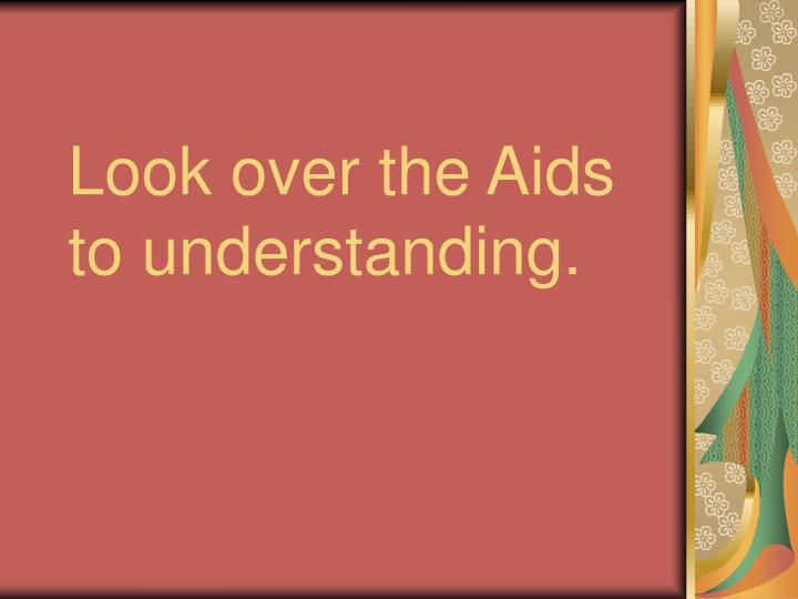 Look over the Aids to understanding.