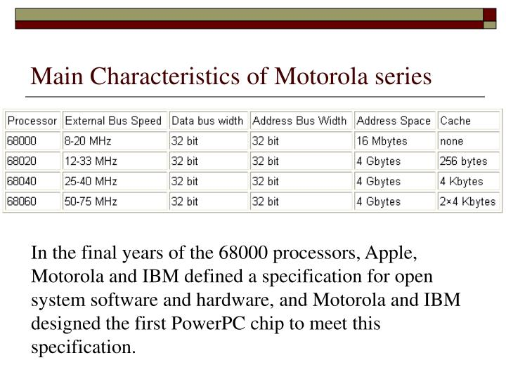 Main Characteristics of Motorola series