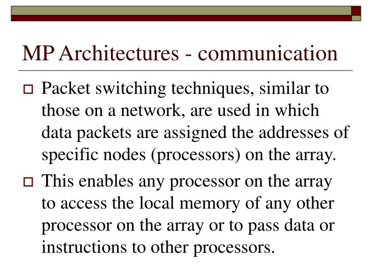 MP Architectures - communication
