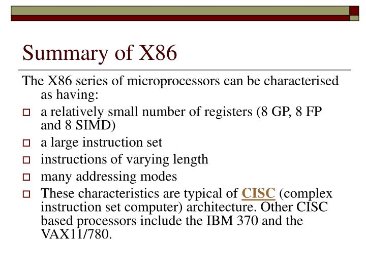 Summary of X86