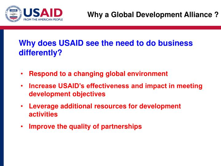 Why a Global Development Alliance ?