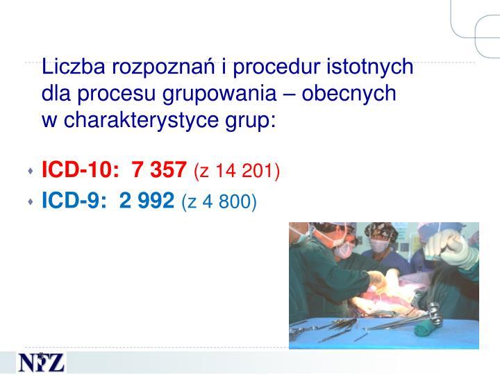 Liczba rozpoznań i procedur istotnych