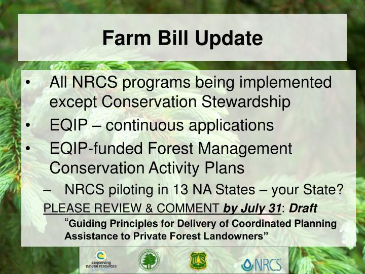 Farm Bill Update
