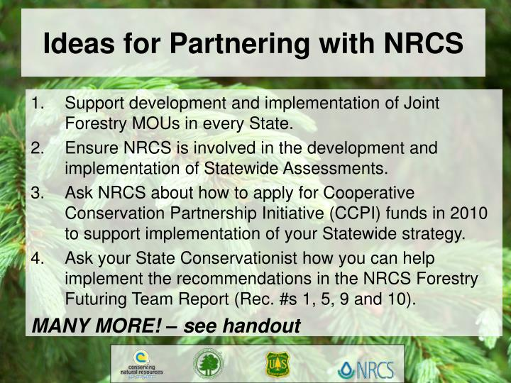 Ideas for Partnering with NRCS
