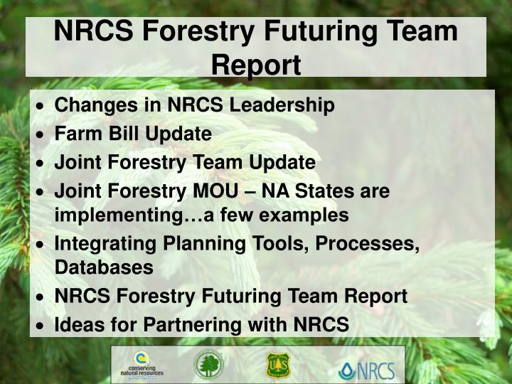 NRCS Forestry Futuring Team Report