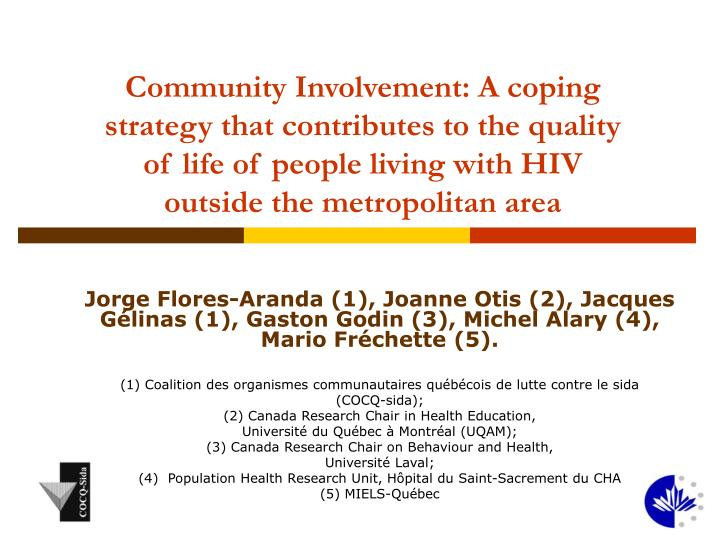 Community Involvement: A coping strategy that contributes to the quality of life of people living with HIV outside the metropolitan area