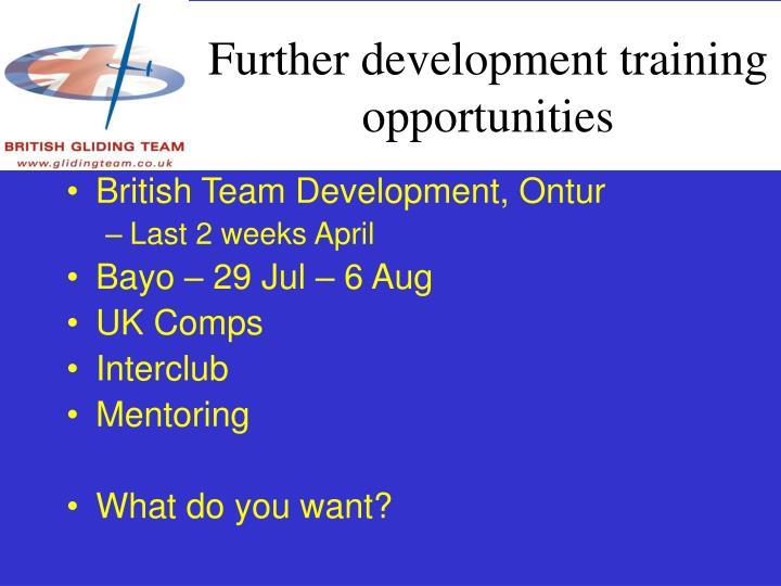 Further development training opportunities