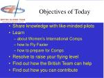 objectives of today