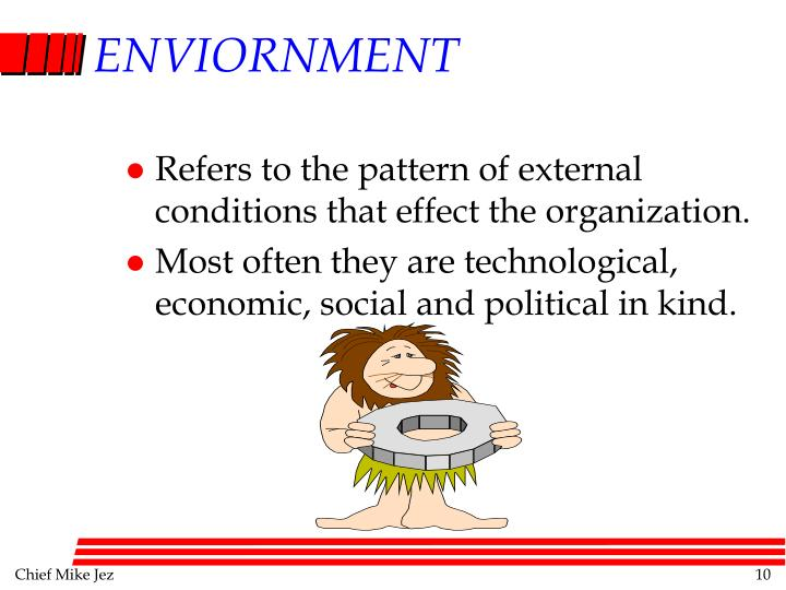 Refers to the pattern of external conditions that effect the organization.