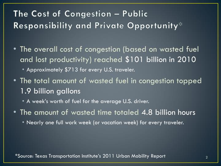The cost of congestion public responsibility and private opportunity