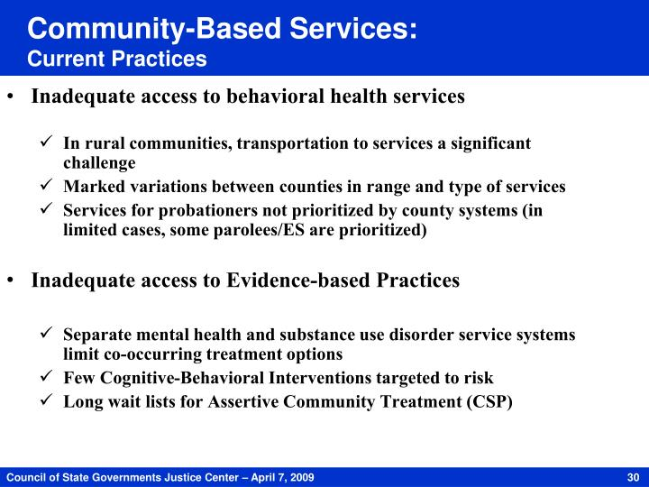 Community-Based Services: