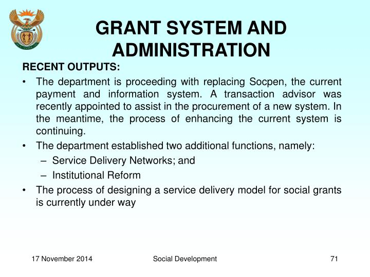 GRANT SYSTEM AND ADMINISTRATION