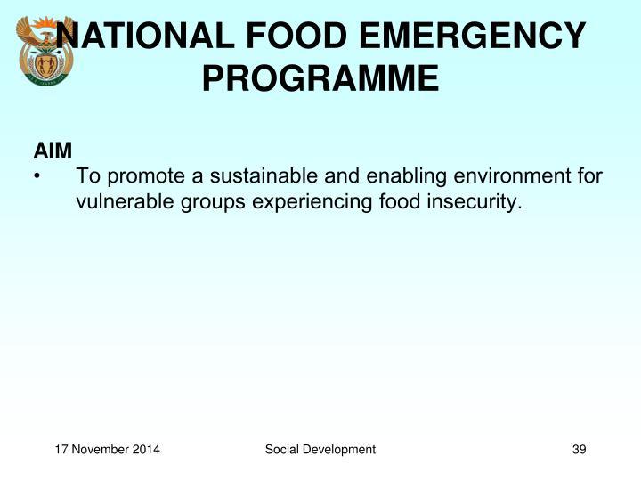 NATIONAL FOOD EMERGENCY PROGRAMME