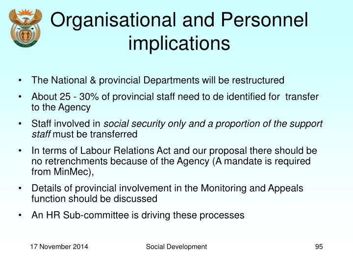 Organisational and Personnel implications