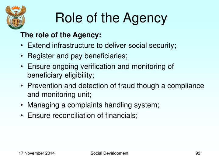 Role of the Agency