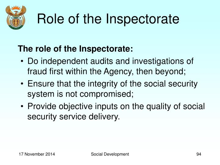 Role of the Inspectorate