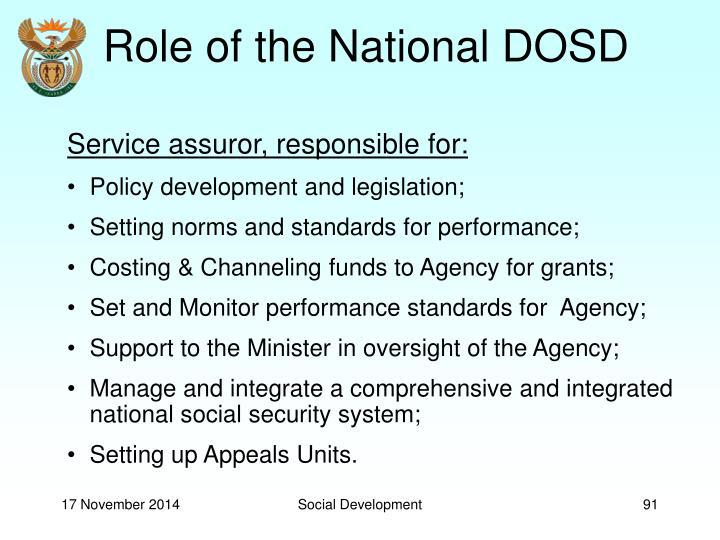 Role of the National DOSD