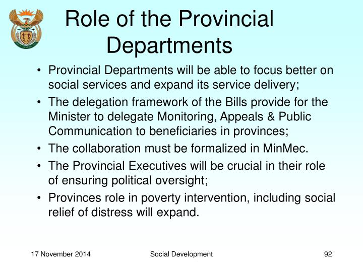Role of the Provincial Departments