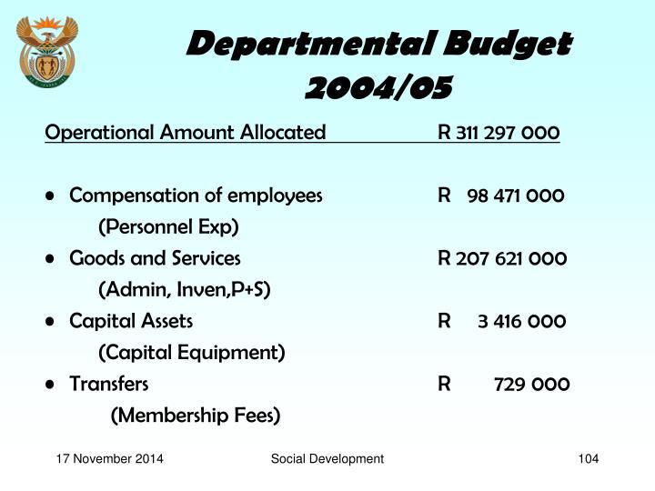 Departmental Budget 2004/05