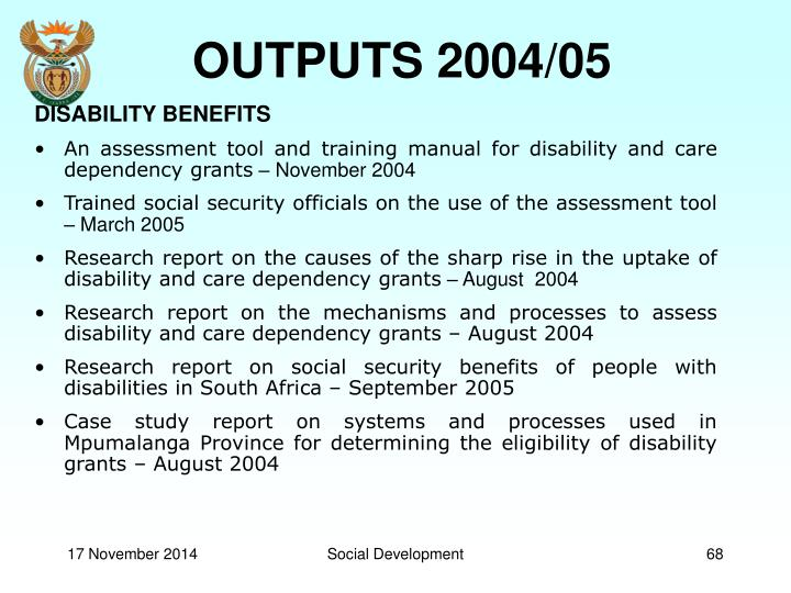 OUTPUTS 2004/05
