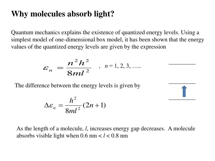 Why molecules absorb light?
