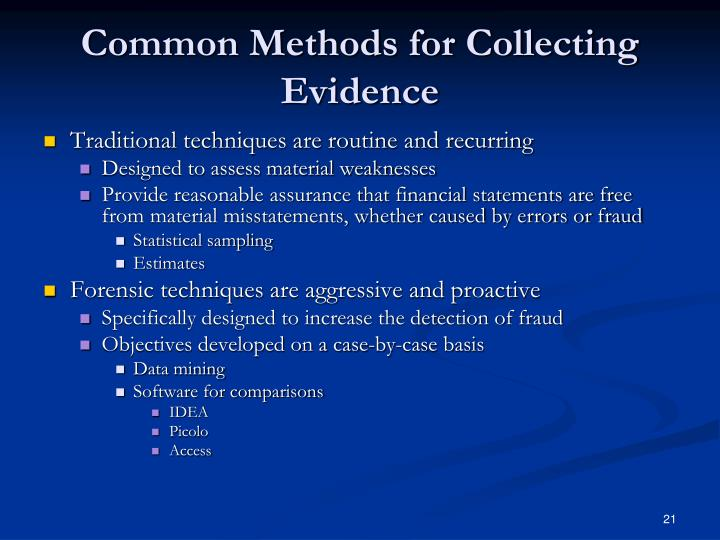 Common Methods for Collecting Evidence