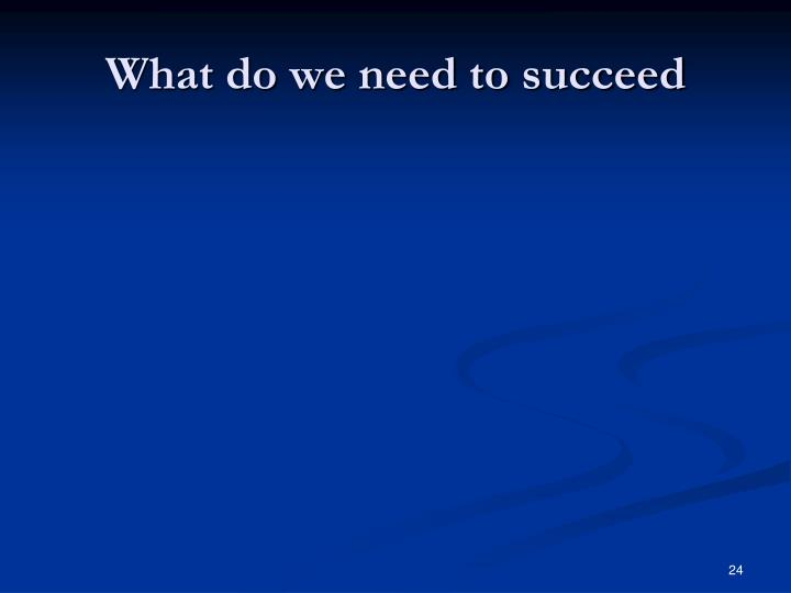 What do we need to succeed
